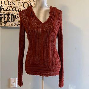 BCBG Maxazria Hooded Rust Loose Knit Sweater
